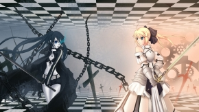 yande 144079 black_rock_shooter black_rock_shooter_(character) crossover fate stay_night lun_wuqu saber saber_lily vocaloid wallpaper