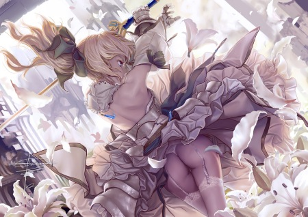 yande 163423 ass fate stay_night geister saber saber_lily stockings sword thighhighs thong