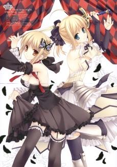 yande 169526 cleavage crease fate stay_night fate unlimited_codes garter gothic_lolita lolita_fashion saber saber_alter saber_lily stockings sword tatekawa_mako thighhighs wnb