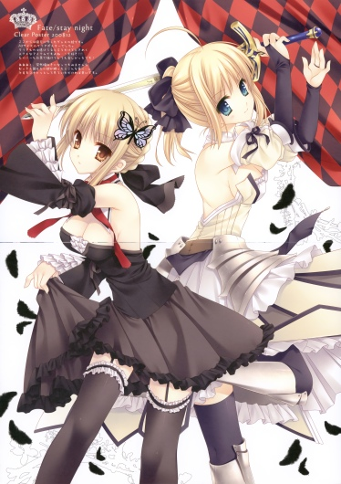 yande 169526 cleavage crease fate stay_night fate unlimited_codes garter gothic_lolita lolita_fashion saber saber_alter saber_lily stockings sword tatekawa_mako thighhighs wnb