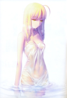 yande 192226 binding_discoloration dress fate stay_night overfiltered saber saber_alter see_through summer_dress takeuchi_takashi type-moon wet wet_clothes