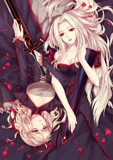 yande 218197 cleavage dress fate stay_night fate zero irisviel_von_einzbern saber saber_alter sword yer_en