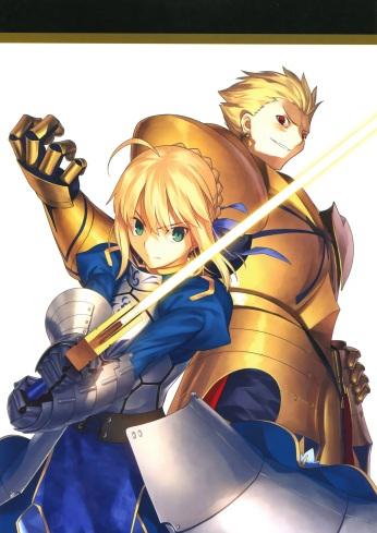 yande 235041 armor fate stay_night fate zero gilgamesh_(fsn) saber sword takeuchi_takashi type-moon