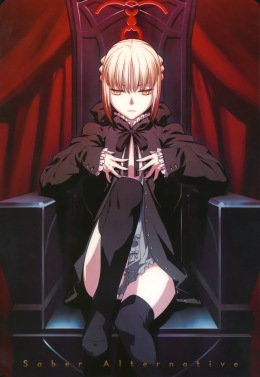 yande 3351 fate hollow_ataraxia fate stay_night lolita_fashion moriya saber saber_alter takeuchi_takashi thighhighs type-moon