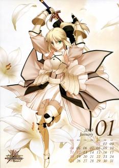 yande 66083 calendar fate stay_night fate unlimited_codes moriya saber saber_lily sword takeuchi_takashi type-moon